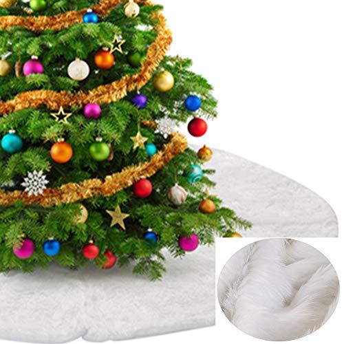 MrXLWhome 48inch White Plush Christmas Tree Skirt, Snow White Faux Fur Large Skirt for Holiday Tree Decorations, White Plush 48 inch