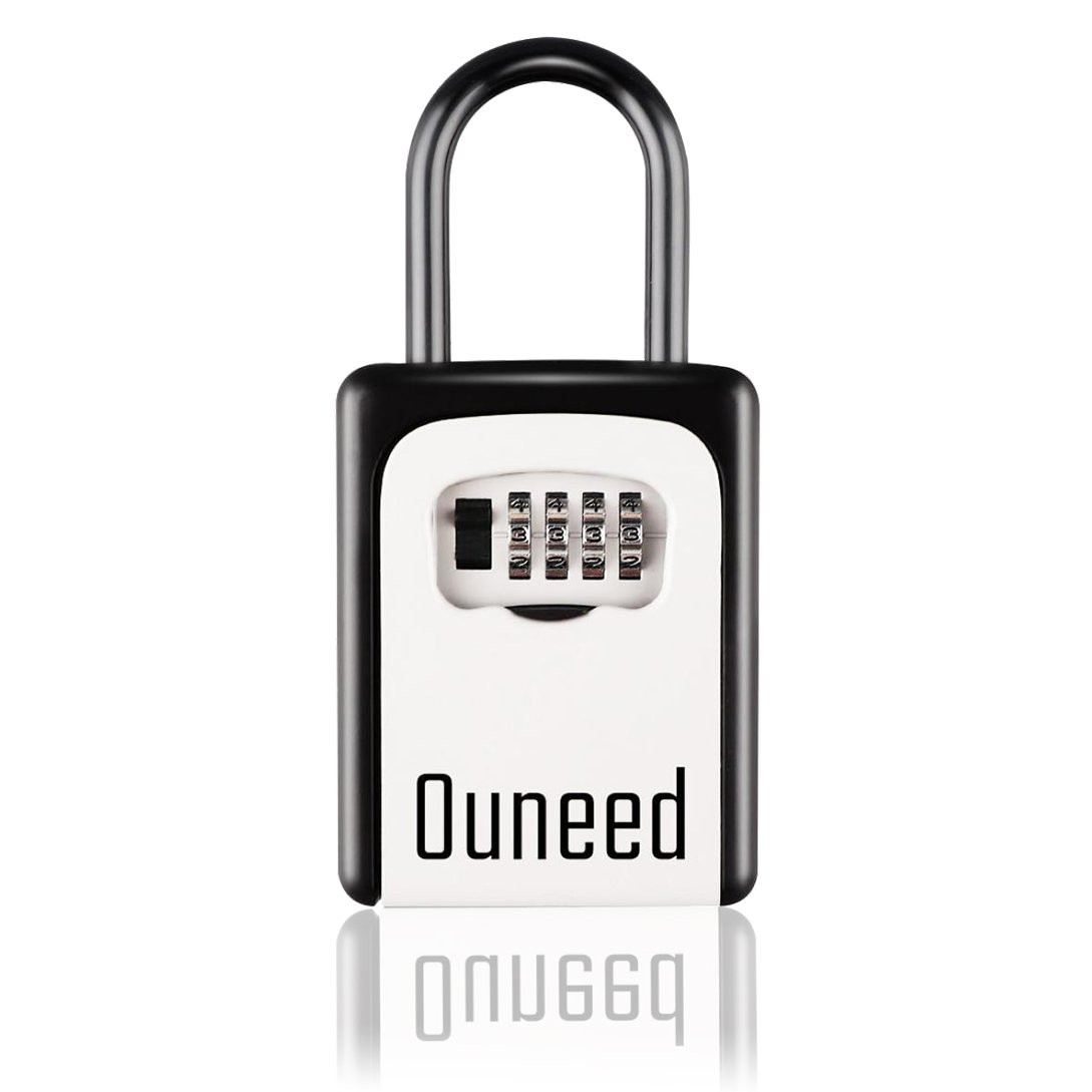 Ouneed Lock Boxes, Wall Mount Anti-theft Key Lock Box with 4-Digit Combination Password Waterproof Lock Box for Homestay/Apartment Hotel/Car Key Code Lock Box (Black)