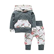 Tomfeel Baby Girls Floral Hoodie Pocket Top Cotton Pants Outfits Kids Playwear Set Grey (6-12M, Grey)