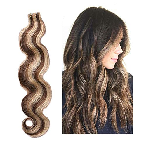 20pcs 60g Tape in Hair Extensions Human Hair #4/27 Strawberry Blonde to Medium Brown Highlighted Body Wave Skin Weft Remy Real Hair Wavy Glue in Hair Extensions 22 inches