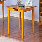 MD Group Printer Table Stand Home Office Furniture Caramel Latte Eco-Friendly Hardwood with Charging Station