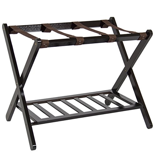 Best Choice Products Folding Luggage Rack w/Shelf, Nylon Straps, 110lb Capacity - -