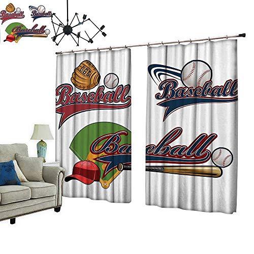 PRUNUS Curtain with Hook Baseball Mitt Ball Bat Hardball Supplies Exercise Team Various Designs Blackout Draperies for Bedroom,W108 xL72 (Baseball Classic Bamboo Bat)