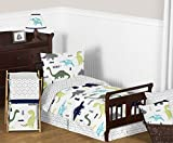 Sweet Jojo Designs 5-Piece Navy Blue and Green Modern Dinosaur Boys or Girls Toddler Bedding Comforter Sheet Set