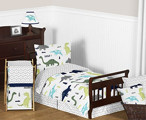Navy Blue and Green Modern Dinosaur Boys or Girls 5 Piece Toddler Bedding Comforter Sheet Set