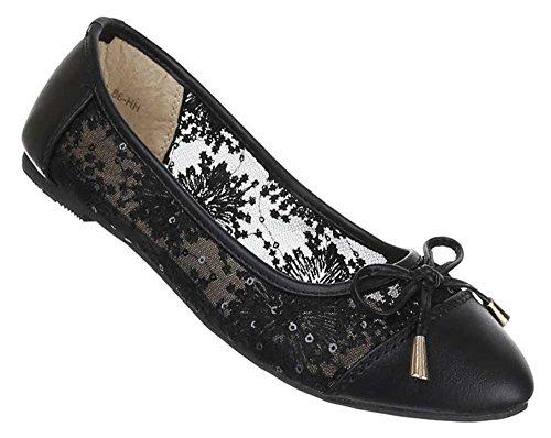 Damen Schuhe y5903 Ballerinas Schwarz 40