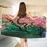 Chaneyhouse Japanese,Bath Towel,Aged Red Leaf Maple with Moss Asian Garden Scenery in Autumn Grass Relaxation in Nature,Bathroom Towels,Green Size: W 27.5'' x L 55''