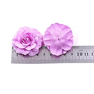 Flower Heads in Bulk Wholesale for Crafts Artificial Silk Mini Rose Fake Flower Head Wedding Home Decoration DIY Party Festival Decor Garland Scrapbook Gift Box Craft 30pcs/lot (Rose red) 3