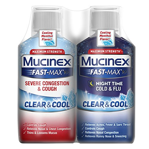 - Congestion, Cough, Cold and Flu, Mucinex Fast-Max Clear & Cool Day/Night  Severe Congestion, Cough, Cold & Flu Liquid, 12oz (2x6oz) Cooling Menthol Flavor,  Relives Headache & Fever, Controls Cough