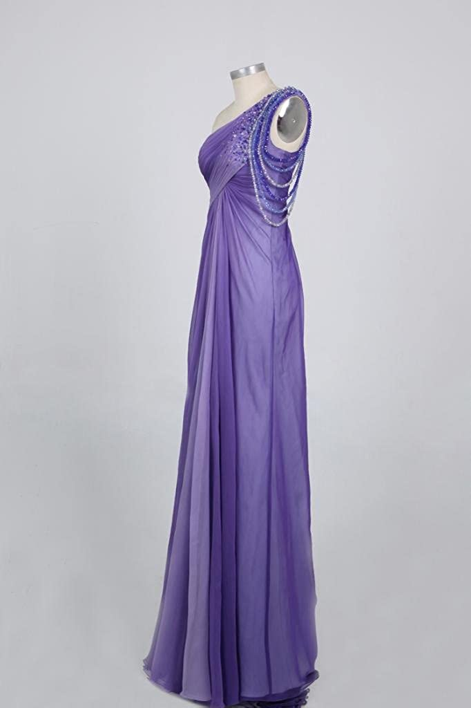 Kingmalls Womens Ombre Purple One Shoulder Beads Prom Dress (XX-Large): Amazon.co.uk: Clothing