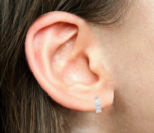 Sterling Silver Princess-cut Cubic Zirconia Huggie Hoop Earrings 3.5x9 Mm