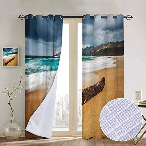 NUOMANAN Decor Curtains by Driftwood,Seascape Theme with Old Piece of Tree in The Beach with Stormy Weather Print,Blue and Ginger,Wide Blackout Curtains, Keep Warm Draperies,1 Pair 52