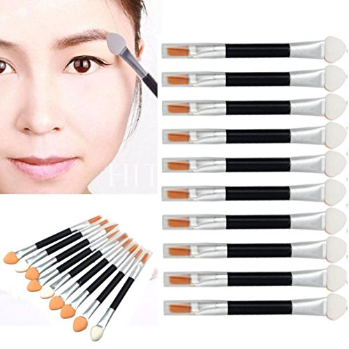 Dry Eye Shadow Dual Color - 10Pcs Professional Makeup Set Foundation Double-end Eye Shadow Sponge Eyeliner Mini Brush By DMZing