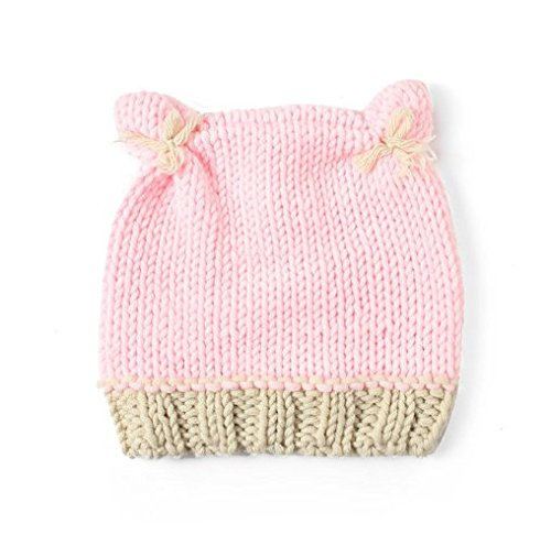 445eba77598 TBOP Baby Hat Pink Two Ear caps Hand-Knitted Baby Hat Cute Baby Hat   Amazon.in  Clothing   Accessories