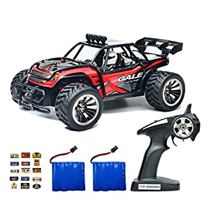 ROCKAR Electric RC Car Off Road 1:16 Scale RC Monster Truck 2.4GHz Radio Remote Control Car 2WD High Speed Rock Crawler with 2 Rechargeable Battery and 45 PCS Stickers (Red)
