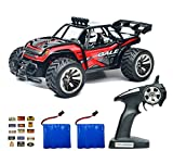Speedi2 Electric RC Car Off Road 1:16 Scale RC Monster Truck 2.4GHz Radio Remote Control Car 2WD High Speed Rock Crawler with 2 Rechargeable Battery and 45 PCS Stickers (Red)