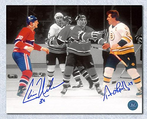 Signed Chris Nilan Photo - TERRY O'REILLY vs Dual 8x10 Boston Fight - Autographed NHL Photos by Sports Memorabilia