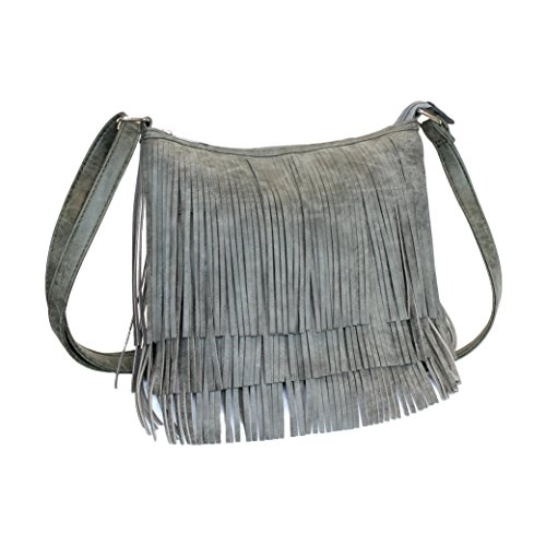 Grey Faux Suede Boho Fringe Zipper Top Crossbody Bag W/ Concealed Carry - Bag Utility Suede