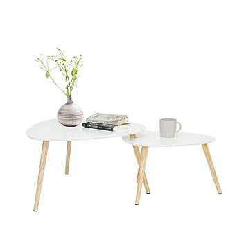 Table Basse Scandinave Gigogne.Wonderhome Table Gigogne Set De 2 Table Basse Table Basses Scandinaves Blanc Pieds De Table En Pin Et Plateau Mdf 1