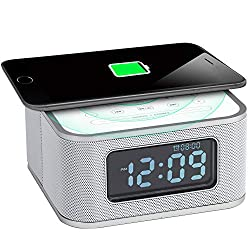 Homtime Wireless Charging Alarm Clock Radio with Bluetooth Speaker for Bedrooms,Snooze,4 Dimmer,USB Charger Port,Hands-Free