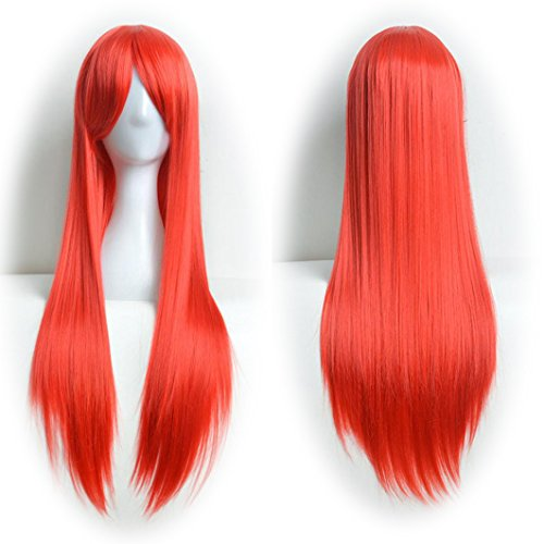 Mens Red Ponytail Wig (DEESEE(TM) 80cm Full Wig Long Straight Wig Cosplay Party Costume Hair Cosplay wig (Red))
