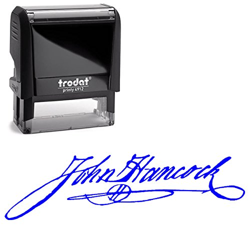Custom Signature Stamp, Upload Your Own Signature Self-Inking Stamp (Blue)