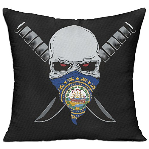 CY STORE Flag Of New Hampshire Calaberas Symbol Square Cotton Linen Sofa Cushion Covers Decorative Home Zippered Custom Throw Pillow 18 X 18 Inch(contain Pillow Core)