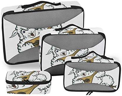 白いギター羊荷物パッキングキューブオーガナイザートイレタリーランドリーストレージバッグポーチパックキューブ4さまざまなサイズセットトラベルキッズレディース