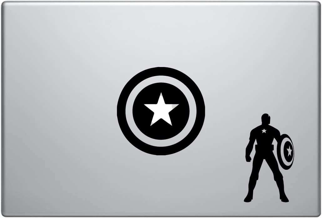 """Captain America and Sheild Combo Set Marvel [4 Pieces] - Laptop Skin Vinyl Decal Sticker for MacBook Pro 13"""" – and Other Apple Laptop – Car and Windows – Size 4 x 4 Inches"""