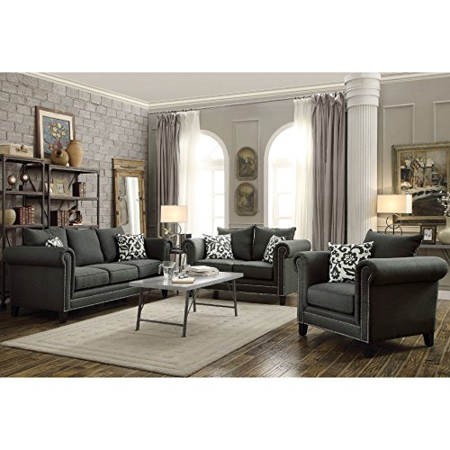 A Line Furniture Traditional French Design with Nailhead Trim Living Room Sofa Collection Charcoal/1 Sofa, 1 Loveseat, 1 Chair, 1 Coffee Table 4 Piece