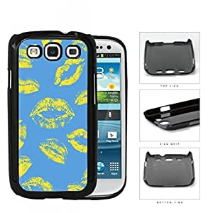 Light Blue Art Yellow Kisses Hard Plastic Snap On Cell Phone Case Samsung Galaxy S3 SIII I9300