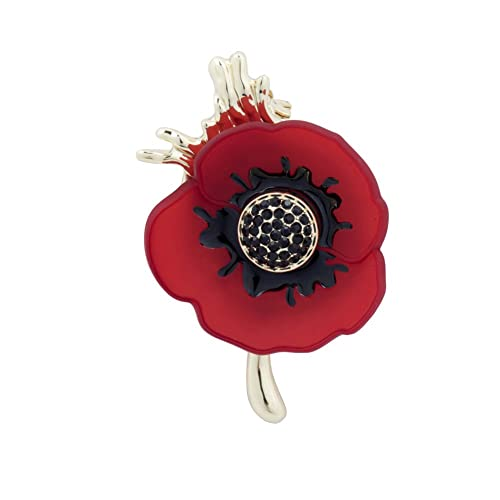 Poppy Brooches Remembrance Sunday Red Flower Rhinestone Badges