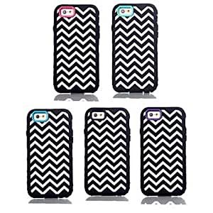 QYF Chevron Wave Pattern Silicone Cover for iPhone 6 , Black