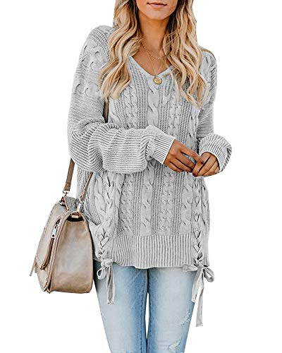 (Womens Pullover Sweaters Plus Size Cable Knit V Neck Lace Up Long Sleeve Fall Jumper Tops Grey )