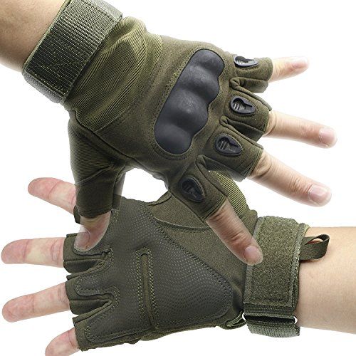 ArunnersTM Mountain Bike Motorcycle Gloves Men Women Tactical Gloves Hard Knuckle Military Fingerless Half Finger Airsoft Paintball Outdoor Gloves Green