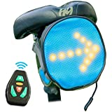 LED Bicycle Reflective Saddle Bag w/ Direction Indicator Bike Light Waterproof Outdoor Cycling Road Seat Pack Accessories Gear Storage Safety Kit w/ Wireless Remote Control Under Seat Mounted Signal