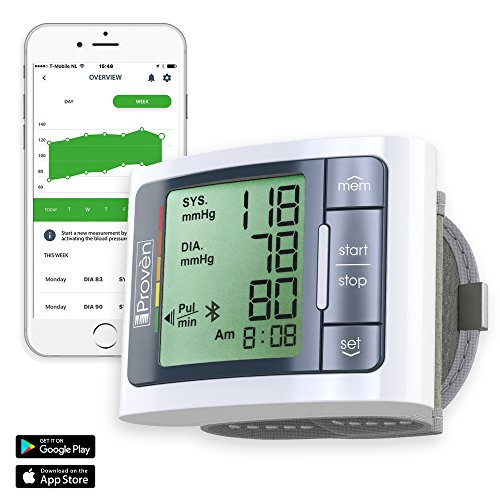 Blood Pressure Monitor Wrist with Bluetooth - Large Screen Display on Machine - BP Wrist Cuff Full Automatic - Clinically Accurate & Fast Reading - FDA Approved - BPM-337BT by Iprovèn (BPM Wrist)