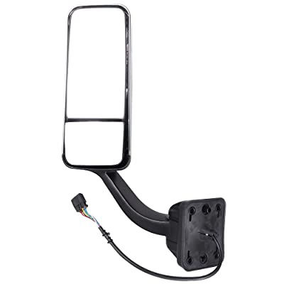 cciyu Rearview Mirror Chrome Towing Door Mirror Wide Angle Mirror Power Heated Driver Left Side Fits for 2008-2016 Freightliner Cascadia Manual Telescoping A2261257005: Automotive