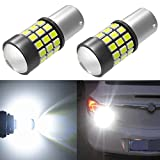 Alla Lighting BA15S 1156 Strobe Brake Lights LED Bulbs Super Bright 7506 1003 3497 1156 Flashing Strobe LED Bulbs High Power 1156 Strobe Brake Stop Light Bulbs, 6000K Xenon White (Set of 2)