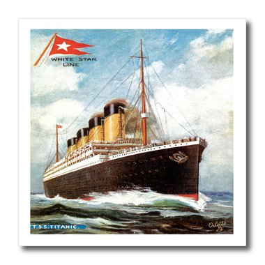 (3dRose ht_149236_3 Vintage White Star Line S.S. Titanic Iron on Heat Transfer, 10 by 10-Inch, for White Material)