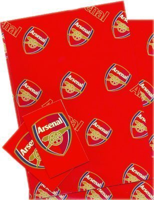 (Arsenal FC Gift Wrap, 2 sheets and 2 gift tags)
