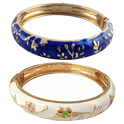 UJOY Cloisonne Bracelets Butterfly Enamel Floral Indian Hinged Open Bangle Jewelry Bracelet for Women Gift Box 55A81-A116 Blue and White