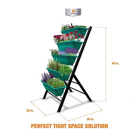 """4-Ft Raised Garden Bed - Vertical Garden Freestanding Elevated Planters 5 Container Boxes - Good Patio Balcony Indoor Outdoor - Cascading Water Drainage to Grow Vegetables Herbs Flowers 3 ✓ EASY TO ASSEMBLE w/ CASCADING DRAINAGE SYSTEM - with easy to follow instructions included, assembly of your vertical garden will be quick and simple. The drainage system lets water flow from the top down to each succeeding row to ensure all plants are adequately watered and no stagnant water remains. ✓ PERFECT TIGHT SPACE SOLUTION - Each hanging plastic box container is 24"""". Provides adequate room for your plants without wasting any precious space in a small apartment, patio, balcony, yard, deck, front porch or any outside area. Grow a variety of herbs, seeds, flowers, succulents or vegetables in just a single area at home. ✓ MODERN ERGONOMICALLY DESIGNED & AESTHETICALLY PLEASING - if you are unable to enjoy gardening due to hip and back issues, this is the product you are looking for. Farmhouse has never been this easy; especially for seniors . Add a unique beauty and style unlike any other to your deck, patio or yard!"""