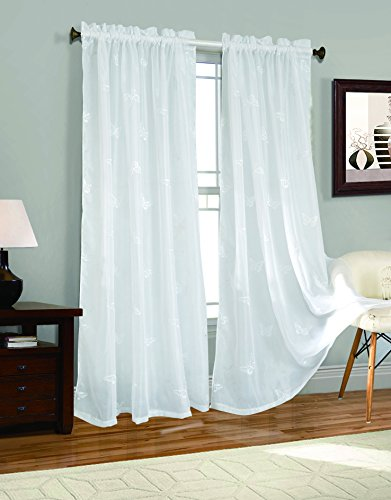2 Piece Butterfly Embroider Sheer Voile Window Curtain Panel Drapes