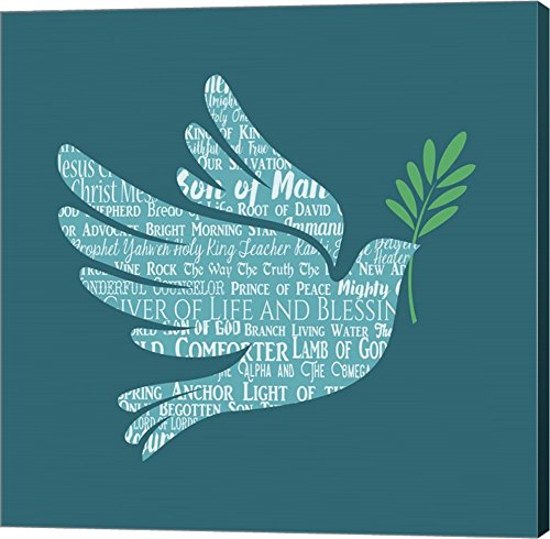 Names of Jesus Dove Silhouette Blue by Inspire Me Canvas Art Wall Picture, Gallery Wrap, 37 x 37 inches by Great Art Now