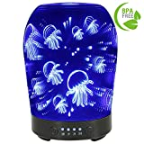 COOSA 100ML Glass 3D Jellyfish Pattern Aromatherapy Essential Oil Diffuser with 7 LED Lights Changing Color Waterless Auto Shut-off Cool Mist Humidifier for Home Office Bedroom Living Room Yoga Spa