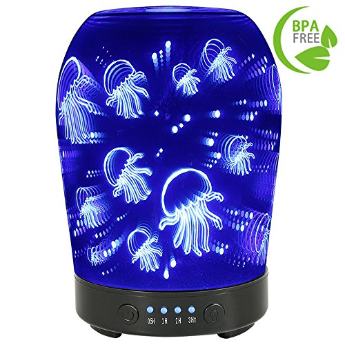 COOSA 100ML Glass 3D Jellyfish Pattern Aromatherapy Essential Oil Diffuser with 7 LED Lights Changing Color Waterless Auto Shut-off Cool Mist Humidifier for Home Office Bedroom Living Room Yoga - Pattern Oil