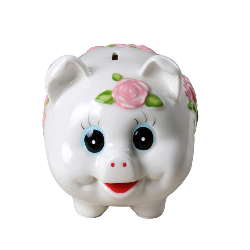 ADbank Ceramic Piggy Bank Coin Storage, Money Box Pig Gifts for Children Friends, Money Pot Also Ornaments for Room Decorations,B by ADbank