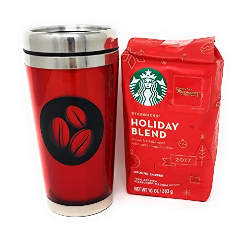 Stainless Steel Lined 16oz Coffee Bean Insulated Travel Tumbler with Starbucks Holiday Coffee Gift Bundle