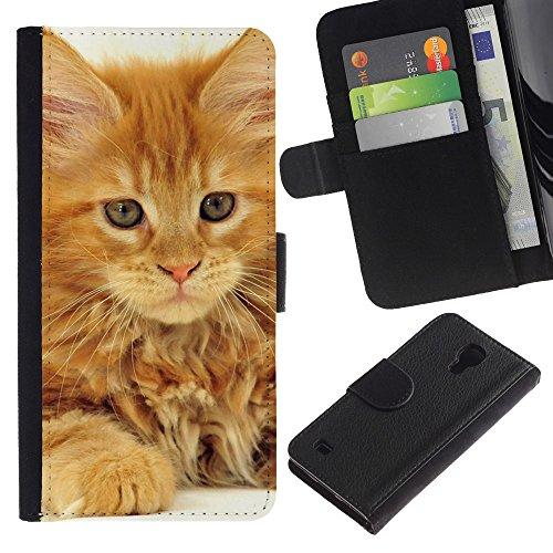 EuroCase - Samsung Galaxy S4 IV I9500 - maine coon ginger orange garfield cat - Cuero PU Delgado caso cubierta Shell Armor Funda Case Cover